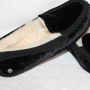 UGG ANSLEY VELVET SHEARLING SLIPPERS BLACK 7 NEW